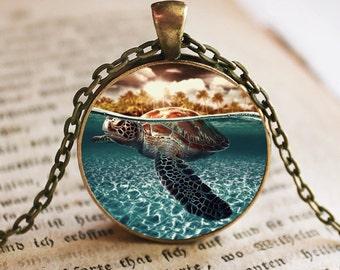 Sea Turtle Under Water Pendant/Necklace Jewelry, Turtles Necklace, Turtle Photo Jewelry Pendant Gift, Turtle Jewelry, Jewelry Photo Pendant