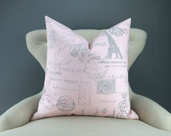 Pink Paris Pillow Cover -MANY SIZES- french stamp gray custom decorative cushion euro sham eiffel tower handwriting script 18x18 24x24 28x28