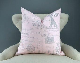 Pink Paris Pillow Cover -MANY SIZES- french stamp gray custom decorative cushion euro sham eiffel tower handwriting script 18x18 24x24 28x28