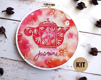Craft Kits, DIY Embroidery Kit, Jasmine Tea, Pink Teapot Art, Embroidery Pattern, Embroidery Hoop Art, Boho Kitchen Decor, Stitch Kit