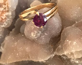 Ruby Solitaire 14k Ring