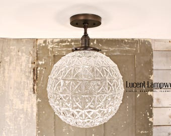 Crystal Style Globe Flush Style Fixture -  12 Inch