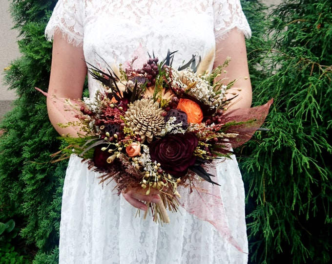 Fall Sola Flowers Rose Wedding Bouquet Chocolate Brown Bridal Bridesmaid, Dried Flower Autumn Bouquet, Preserved Greenery, Skeleton Leafs