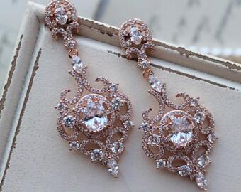 Rose Gold  Art Deco Earrings , Wedding Earrings, Bridal Earrings,  Vintage Style Crystal  Earrings, Crystal Drop Earrings, Zircon  Earrings