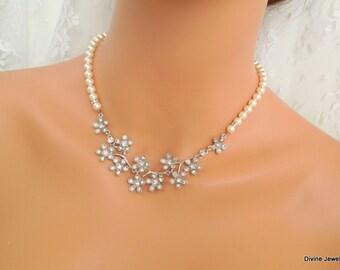 bridal necklace, pearl rhinestone necklace, Wedding Rhinestone necklace, swarovski crystal and pearl necklace, Statement necklace, CARA