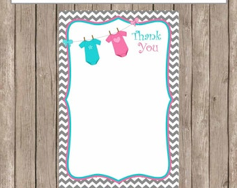 Thank You Note Card -  Gender Reveal Pink and Blue Chevron Baby Shower Printable 4x6 Thank You Note Cards-  GenderReveal3  INSTANT DOWNLOAD