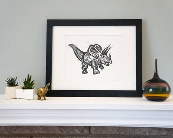 Triceratops - Ferocious Handmade Woodcut Print for Your Kids Room or Home Decor!  Woodblock Print by DinoCat Studio