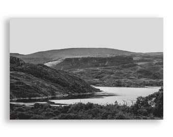 B&W Loch Sunart Print- Scottish Highlands, Scotland Print, Black and White Landscape, Hill Photography, Printable Wall Art, Digital Download