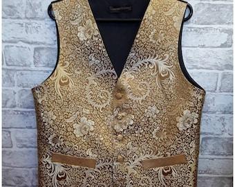 """Men's Wedding Vest, Men's Gold Silk Waistcoat, Men's Gold Silk Vest, Brocade Vest, 38""""-40"""" Chest."""