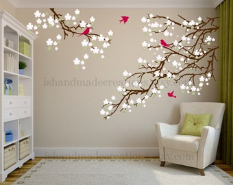 Living room wall decals - Cherry blossom decal - Cherry blossom wall decal - flowers wall decal - wall decals vinyl  nature wall decal