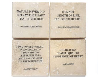 Literature Quote Coaster Set (4 Stone Coasters) Austen, Emerson, Frost, & Wordsworth
