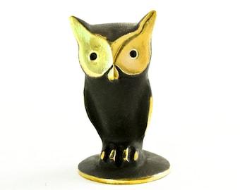 "Walter Bosse Owl - Brass ""Black Gold"" Horned Eagle Owl Figurine — ""Uhu"""