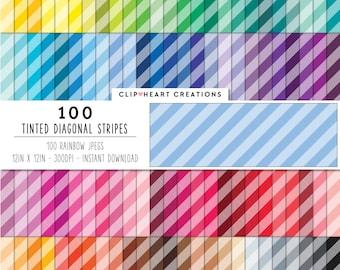 100 tinted diagonal stripes, Digital paper, Commercial use, digital stripes paper, digital scrap booking paper, tinted striped diagonal