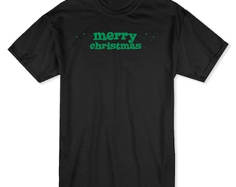 Merry Christmas Green Text And Sparklings  Men's Black T-shirt