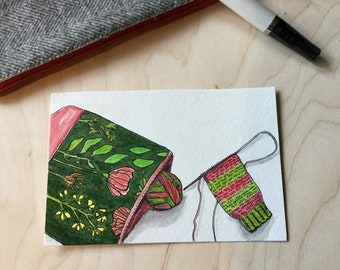 Handmade Watercolor postcard