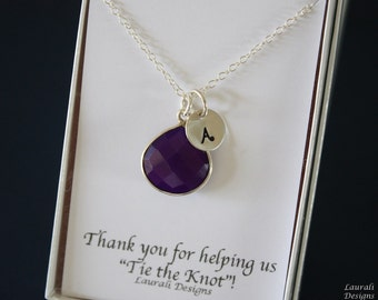 4 Monogram Bridesmaid Necklace Purple, Bridesmaid Gift, Plum Gemstone, Sterling Silver, Initial Jewelry, Personalized