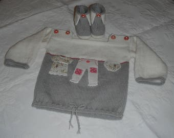 Set 6 month hand knit / sweater and matching booties