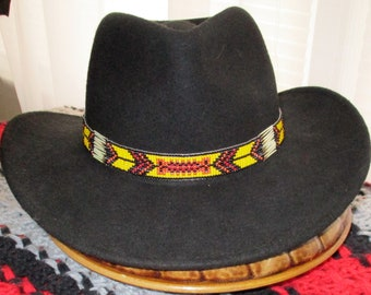 Custom made! Yellow Fellow. A Cowboy Style Hatband with  Porcupine Quills & Glass Beads.  Handcrafted for Western Style Hats