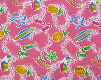 Surfboards Slippahs and Pineapples Shave Ice with Palm Trees  Hawaiian Print PINK from Marianne of Maui