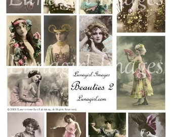 BEAUTIES digital collage sheet vintage images photos Victorian Edwardian women romantic tinted altered art ephemera showgirls divas DOWNLOAD