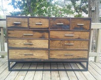Reclaimed Wood Dresser - Metal Base - FREE SHIPPING