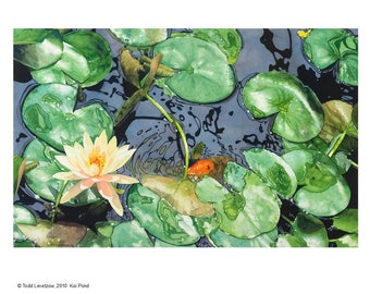 Koi Pond, watercolor print by Todd Levetzow  YourNamesOnThis