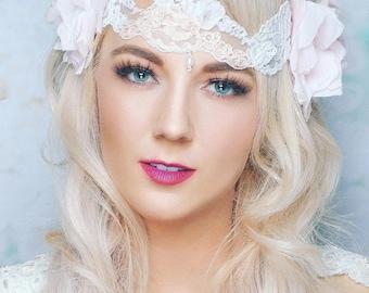 "Pearl and Lace Boho Bridal Headband/ ""Wild Rose"" / Art Nouveau Inspired"
