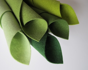 Fresh Greens, Wool Felt Sheets, Five Piece Set, 8 x 12 Inches, 1mm Thick, Pure Wool Felt,  Avocado, Fern, Forest, Spring, Greenery, Waldorf