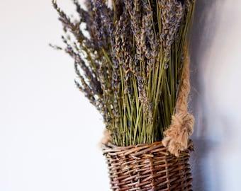 Hanging Dried Lavender Basket, Mother's Day gift, dried lavender arrangement, dried lavender wreath, lavender basket
