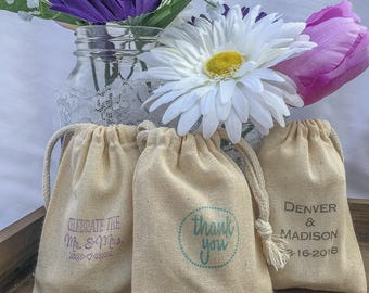 Vanilla Caramel Wedding Favors with muslin bags (3 Caramels per bag) - 100 to 300 Guests