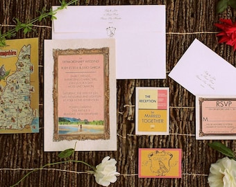 pkg 50 wes anderson style The ROYAL MOONRISE wedding invitations mod stationary whimsical beach camp 1960s response cards maps FREE Shipping