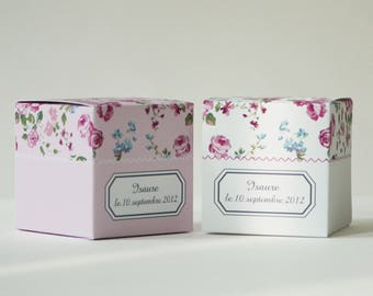 Pink flower liberty favor boxes by 12