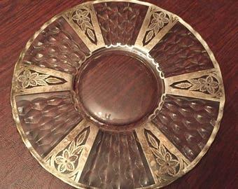 Vintage Art Deco Glass And Sterling Silver Overlay Serving Platter