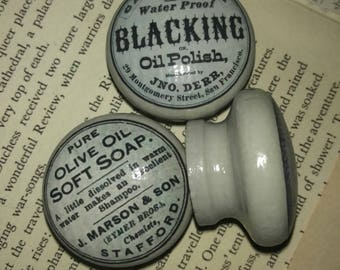 Vintage Advertising Labels Set of 6 Knobs *STOCK CLEARANCE* 43mm Annie Sloan Paris Grey.