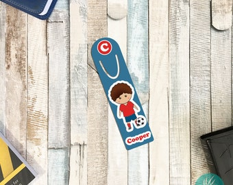 Personalized Bookmark for Kids, Personalized Soccer Gifts for Boys, Personalized Metal Bookmark for Books, Gift Ideas for Boys, Soccer Boy