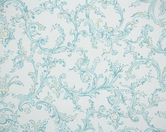 1950s Vintage Wallpaper by the Yard - Pretty Blue and Metallic Gold Swirls