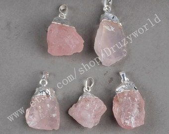 Wholesale Silver Plated Rough Natural Rose Quartz Pendant Bead Handmade Freeform Raw Rose Quartz Craft Pink Gemstone Quartz Jewelry S0067