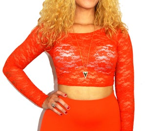 Orange Lace Crop Top