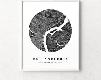 Philadelphia poster, Philadelphia print, Philadelphia map, black and white map, city map print, map posters, Philadelphia city, map prints