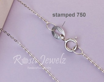 Solid 18k Italy white gold chain for pendant, 18inches 45.5cm solid gold italy chain necklace. No.14