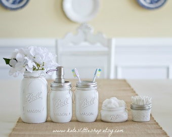 Mason Jar Bathroom Set. WHITE. Ball Mason Jars. Rustic Home Decor.Painted Jars Farmhouse Bathroom Decor. Bathroom Soap Dispenser. Rustic.