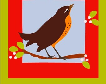 note cards singing spring robin