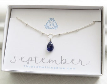 September Birthday Gift • Iolite Necklace • Satellite Chain • Faceted Birthstone • Dark Blue Gemstone • September Birthstone • Tiny Gemstone