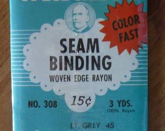 Wrights Light Grey Woven Edge Seam Binding