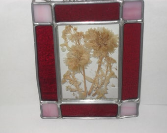 Pressed Wildflowers in a Stained Glass Frame