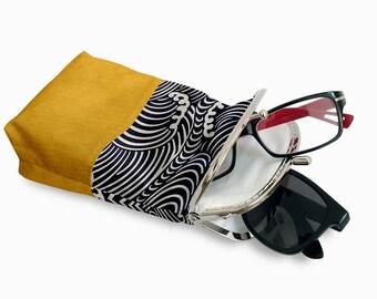 Double Pockets Glasses Case, Eyeglasses Case Double Pockets, Sunglasses / Reading Case, Yellow and Black Kiss Lock Case, Silver Frame