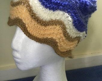 Seaside design hand knitted hat