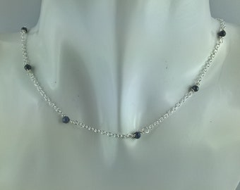 Choker necklace handmade Silver 925 and genuine Sapphire faceted beads