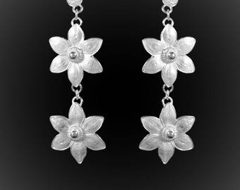 Embroidered silver double Lotus earrings
