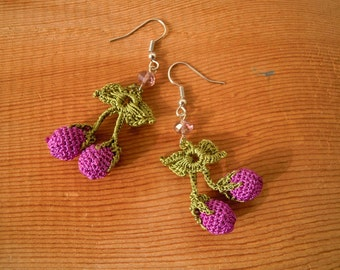 crochet cherry earrings, purple